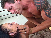Hot babe does crazy throat job.